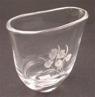 Fine Art Crystal Glass Small Vase with wheel cut