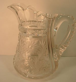 1002: ABP Fine Cut Crystal Pitcher with floral design.