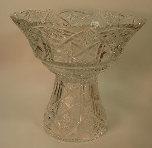 1005: Cut Glass Two Piece Punch Bowl. Maker unknown. A