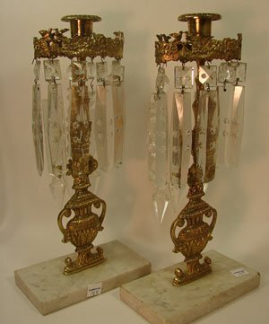 1006: Pair of Cast Brass & Marble Candle Holders with c