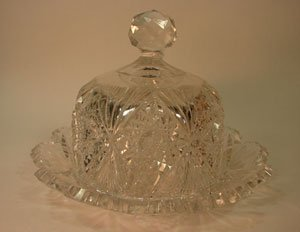 1009: ABP Cut Crystal Two Piece Butter Dish. Maker unkn