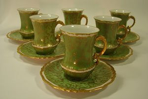 1011: J. Pouyat Fine Porcelain Demitasse Cup and Saucer