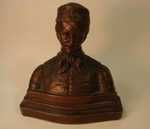 1016: Antique Bust of European Boy. Copper over plaster