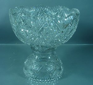 1019: Fine ABP Cut Glass Two Piece Punch Bowl. Chips on