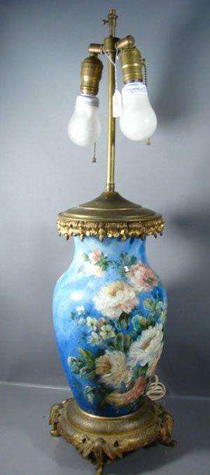 1020: Bronze Mounted Majolica type Vase. Mounted as a t