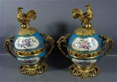 1156: Bronze Mounted Pair Fine Porcelain Mantle Decorat
