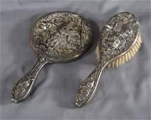 1298 2 Art Nouveau Silver Plate  Dresser Pieces inclu