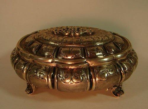 4: 800 Fine Silver Antique Jewelry / Dresser Box with E