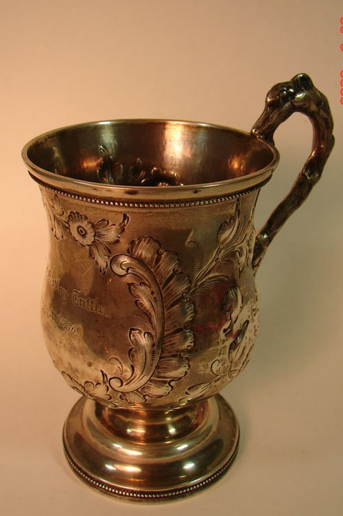 6: Unmarked Silver Cup. Possibly Heavy Silverplate. Ins