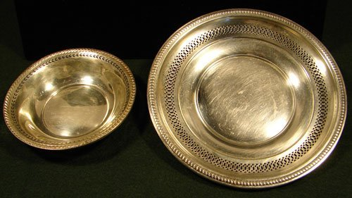 010A: Two Sterling Pieces with Pierced Rims. Includes W