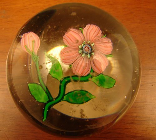 45: Antique Paperweight with Lampwork Flower and polish