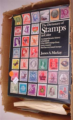 Box of Foreign Stamps and US plus some old Stamp Co