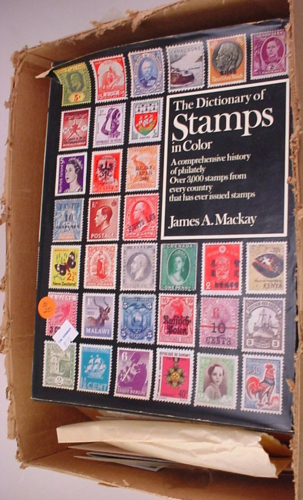 20: Box of Foreign Stamps and US plus some old Stamp Co