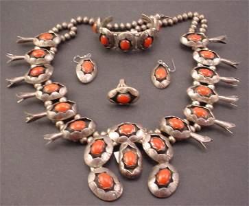 """679: Native American """"Navajo Squash Blossom"""" Silver and"""