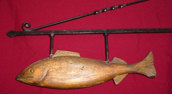 1001: American Folk Art Carved Fish Monger Sign