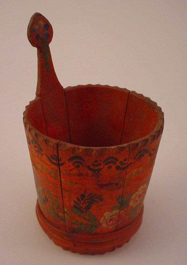 1009: Wonderful early Folk Art Miniature Stave Bucket i