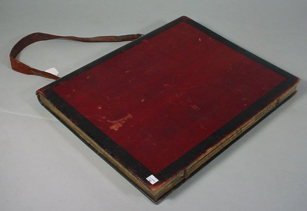 1014: Folky Book Form Portfolio Case with leather strap