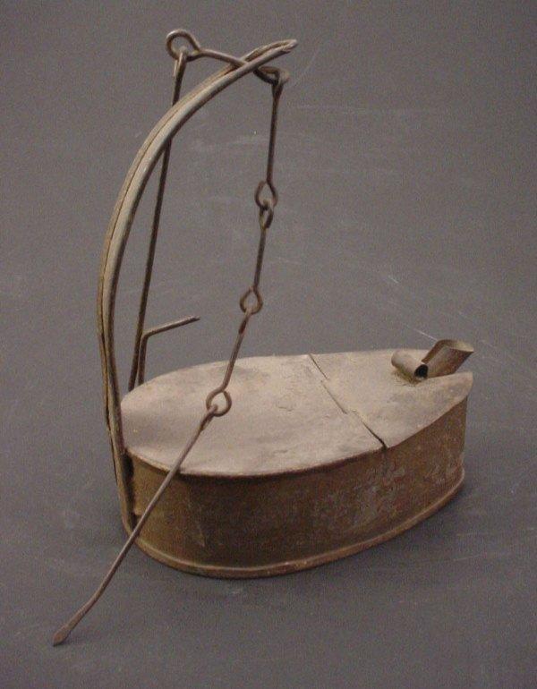"1017: Tin ""Betty"" Lamp with Iron Wine Chain. 5 3/4""h x"