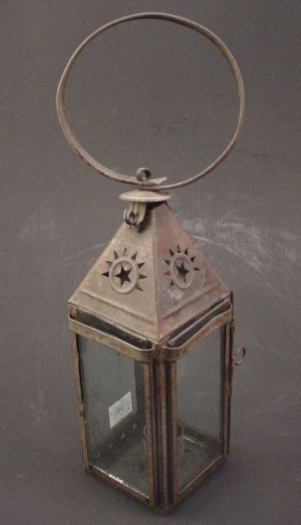 """1018: Pierced Tin and Glass Candle Lantern. 19th c. 11"""""""