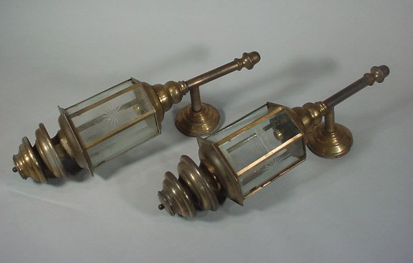1021: Pair Large Antique Brass and Glass Architectural