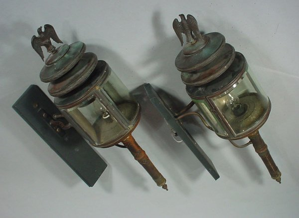 1022: Pair Large Antique Brass Architectural ? Carriage