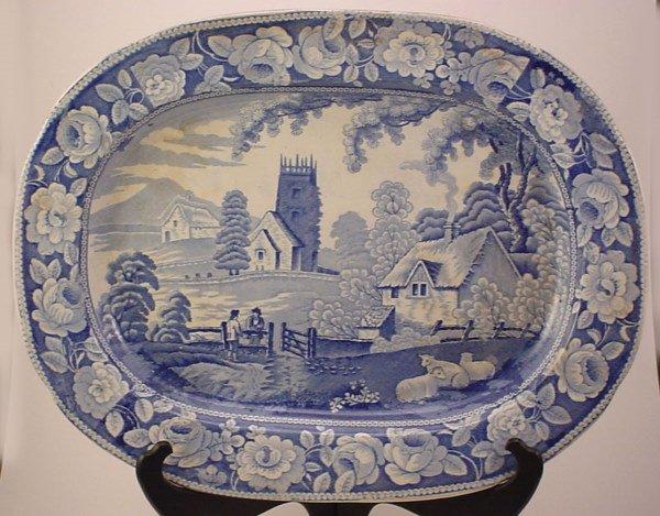 1028: Early Staffordshire Blue Transferware Platter wit