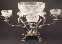 1071: Fancy Silver plate and Fine Cut Crystal Centerpie