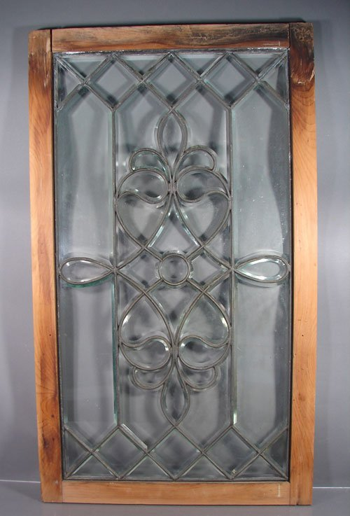 015: Antique Victorian Leaded & Beveled Glass Window