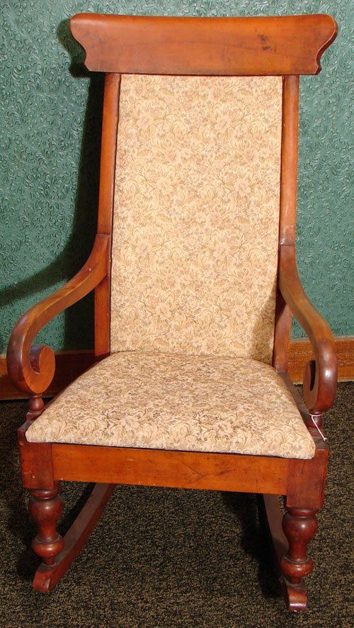 016: Antique Cherry Rocking Chair with Arms. Old finish