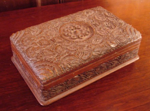 018: Antique Hand Carved Walnut Box