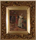 87: Antique Oil Painting on Canvas child double signed