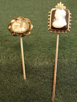 """1008: Two Antique Cameo Tie Pins. Landscape: 2""""l x 1/4"""""""
