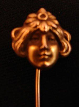 1009: Art Nouveau 14k Gold Tie Pin / Stick Pin  Woman