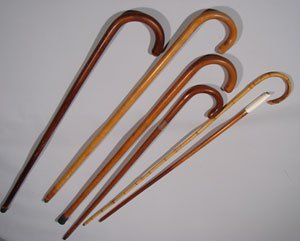 1022: Five Assorted Antique Canes. Various Conditions.