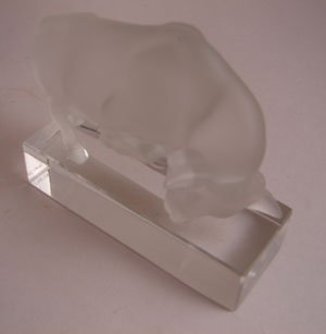 1024: Lalique signed Art Glass Figure of Bull. Frosted