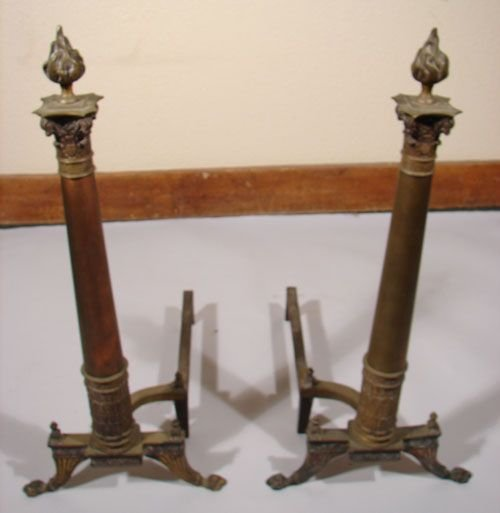 1068: Antique Andirons Brass of Architectural Design