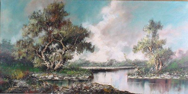 4005: 20th c Oil Painting on Canvas, Landscape. Artist