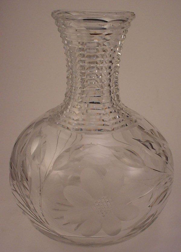 4006: American Brilliant Period Fine Cut glass bottle.