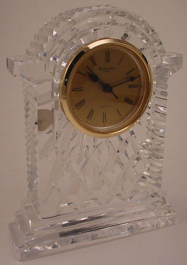 """4007: """"Waterford"""" Fine cut Crystal Shelf Clock with qua"""