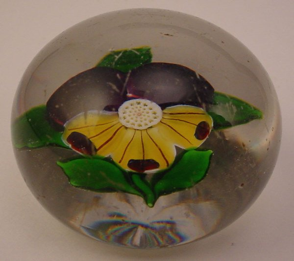 4019: Probably French Antique Glass Paperweight with pa