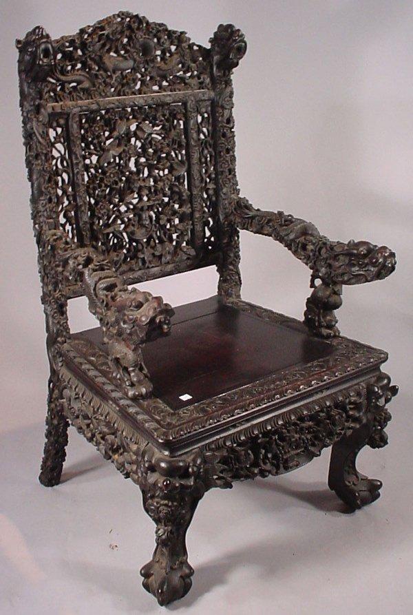4093: Heavily Carved Teakwood exquisite Oriental Teakwo