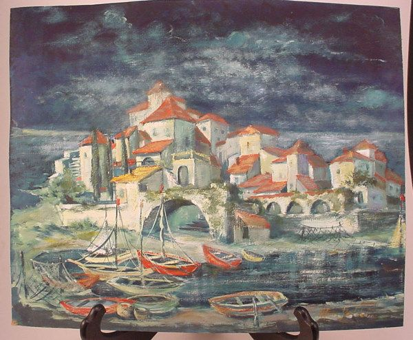 "4112: ""Alfons Helsheim""? Colorful landscape pastel on p"