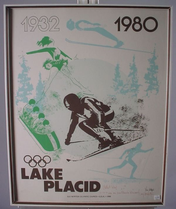 4010A: Signed Winter Olympic Ski Poster