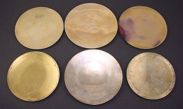 1001: Six Sterling Silver Patens. Paten used for Christ