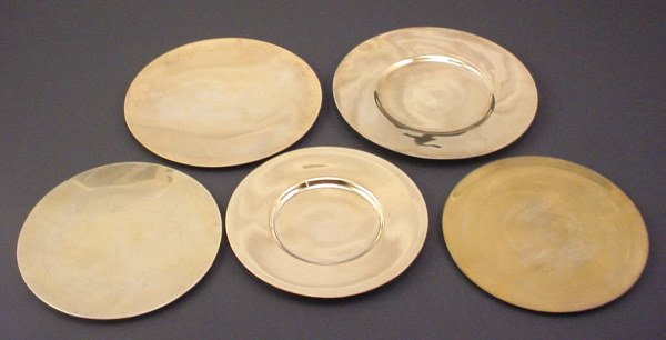 1002: 5 Sterling Silver Patens. Paten used for Christia