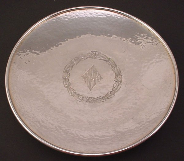 1003: Sterling Silver Paten. Hand hammered and decorate