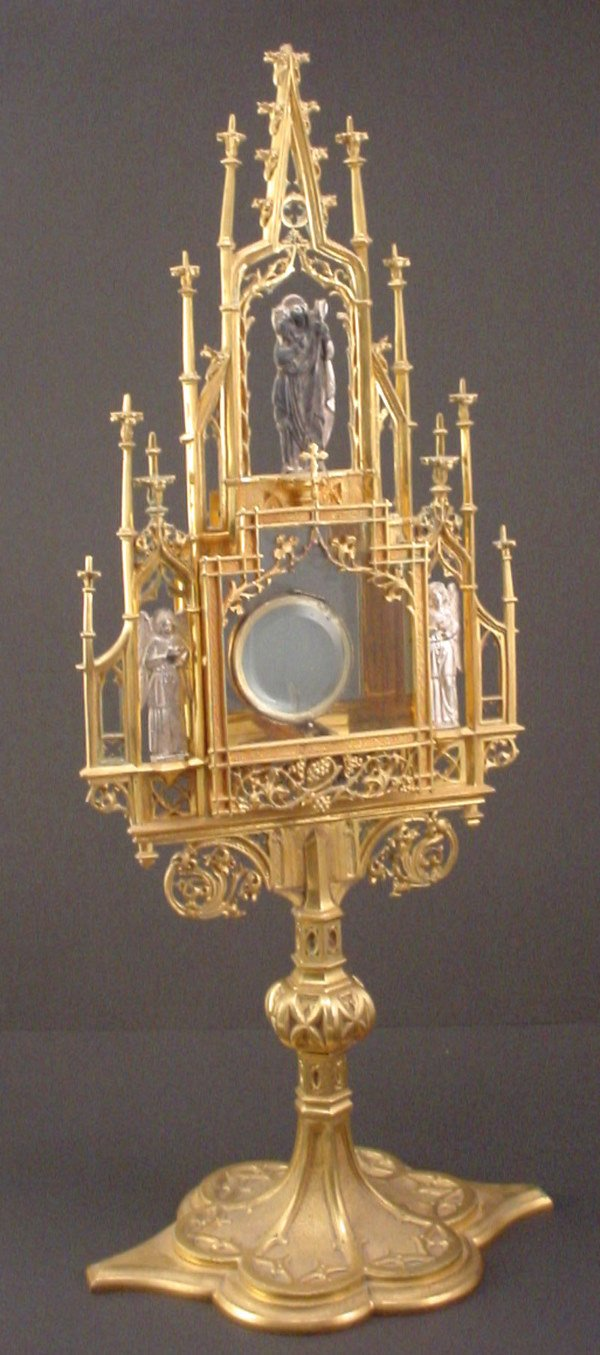 1011: Gothic Monstrance/Ostensorium made of Gilt Metal