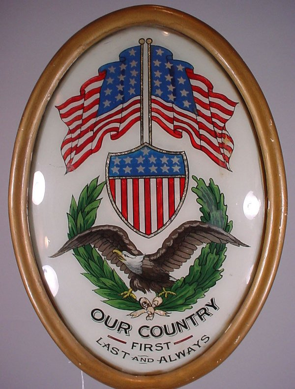 1151: American Patriotic Convex Reverse Painting on gla