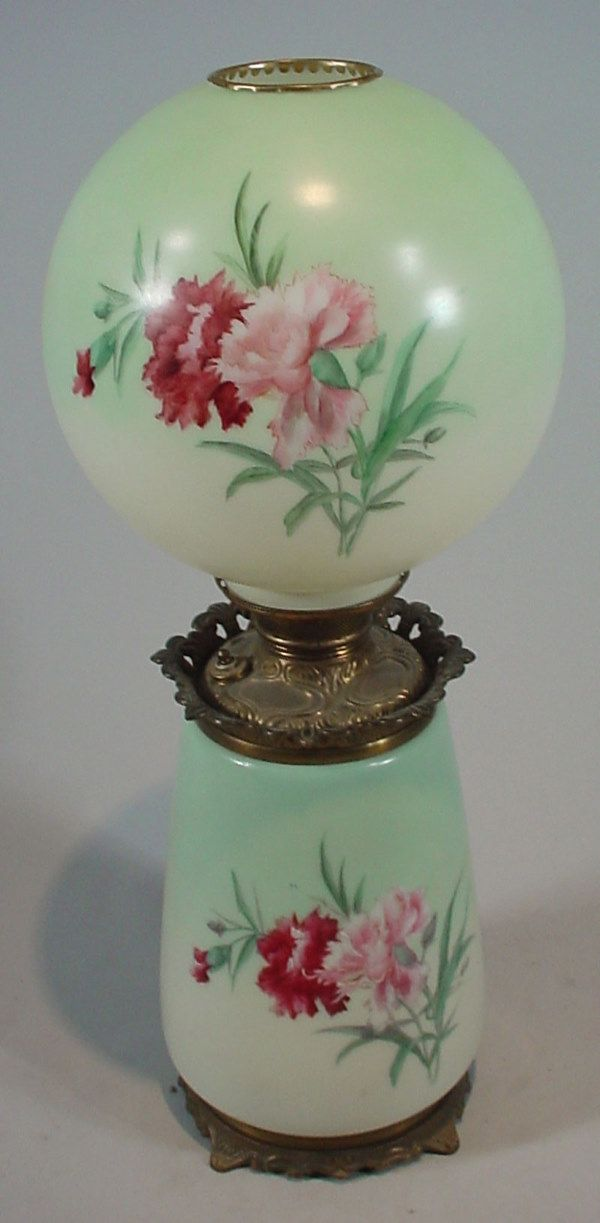 Antique Painted Milk Glass Kerosene / Oil Lamp. M