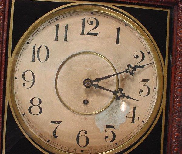 """1336: """"Waterbury Clock Co"""" Hanging Oak Regulator Clock. - 2"""